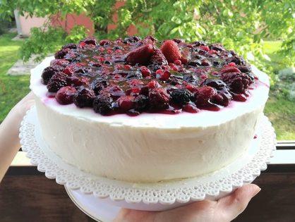 Bezlepková (pohánková) tvarohovo - ovocná torta